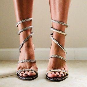 Dolce Vita Magnolia leather python wrap heels 6.5